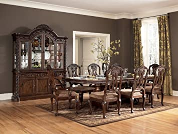 ashley d553 9 pc north shore pedestal table dining room set in home white - North Shore Living Room Set