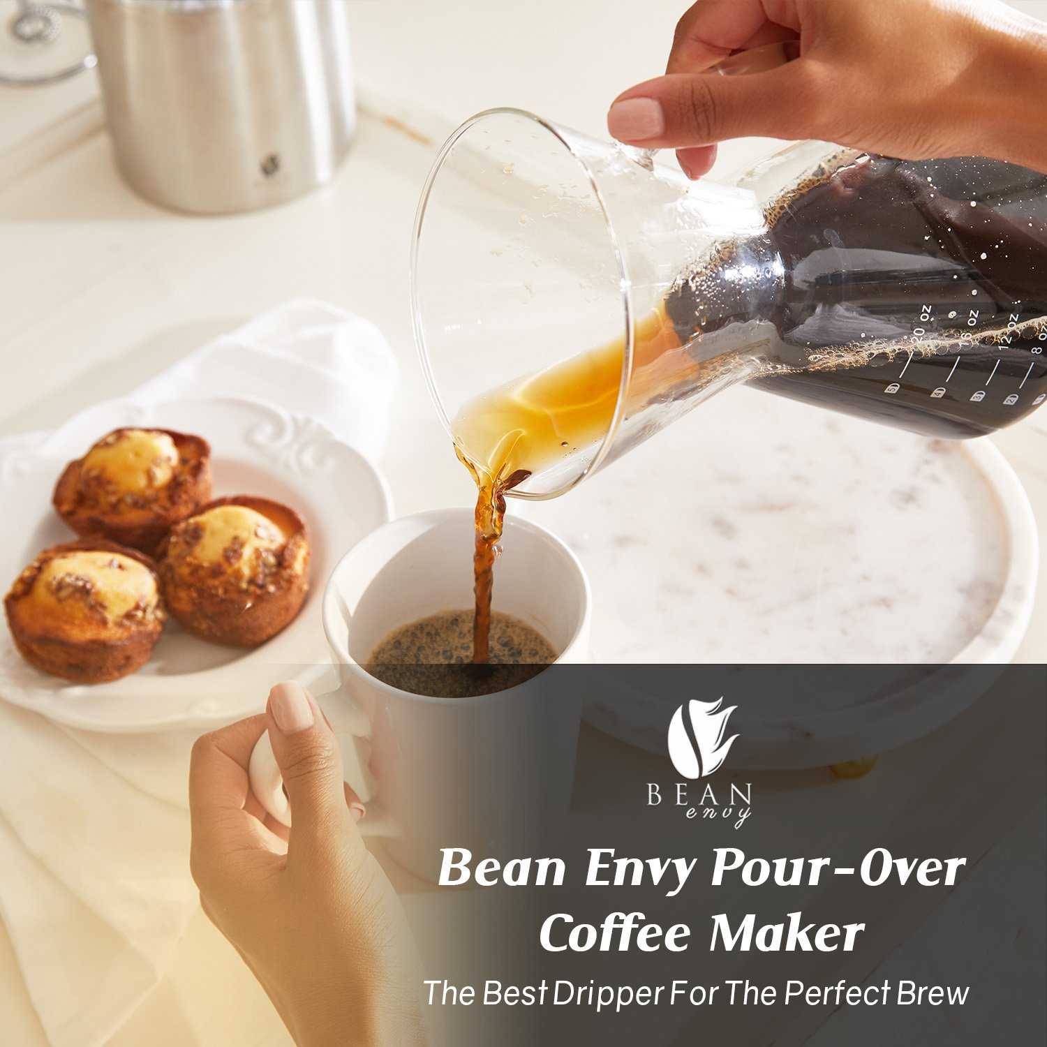 Bean Envy Pour Over Coffee Maker - 20 - oz Borosilicate Glass Carafe - Rust Resistant Stainless Steel Paperless Filter/Dripper - Includes Patent Pending Silicone Sleeve by Bean Envy (Image #6)