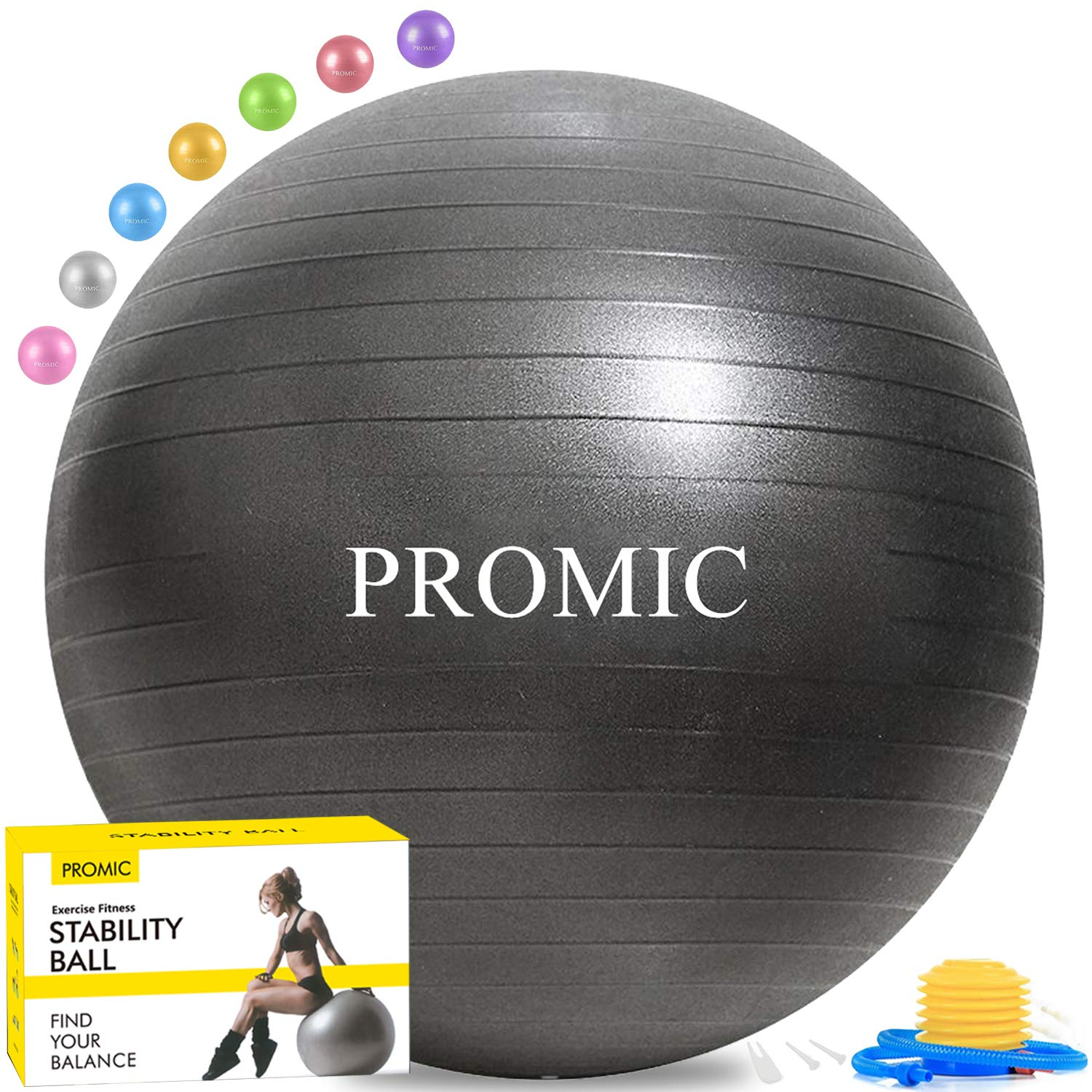PROMIC Exercise Ball (45-85cm) with Quick Foot Pump, Professional Grade Anti Burst & Slip Resistant Stability Balance…