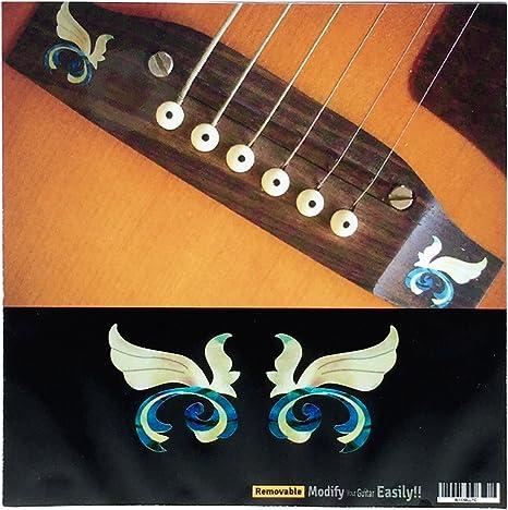 Juego de 2 adhesivos para guitarra acústica, diseño de puente de ...