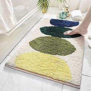 "Decorative Bath Mats for Bathroom 18""X26"" Beige Bath Rugs Non-Slip Machine Washable Bathroom Kitchen Decor Rug Mat Welcome Doormat, Lemon Beige"