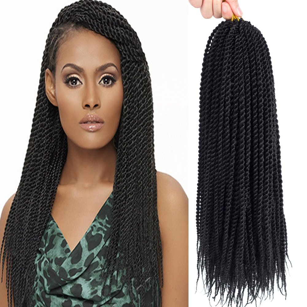 Befunny 8Packs 18'' Senegalese Twist Crochet Hair Braids Small Havana Mambo Twist Crochet Braiding Hair Senegalese Twists Hairstyles For Black Women 20strands/pack(18'', 1B#)