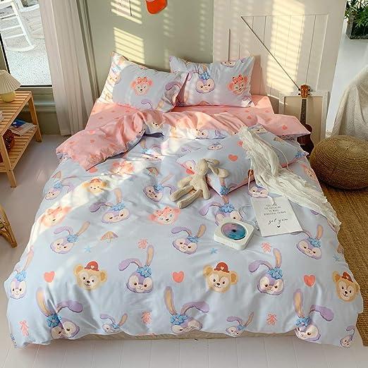 1 Comforter Cover 2 Pillowcase Cartoon Strawberry Rabbit Pattern Print on Pink Plaid Twin, Rabbit BlueBlue Strawberry Kids Duvet Cover Set Twin 100/% Cotton Bedding for Boys Girls Teens Single Bed