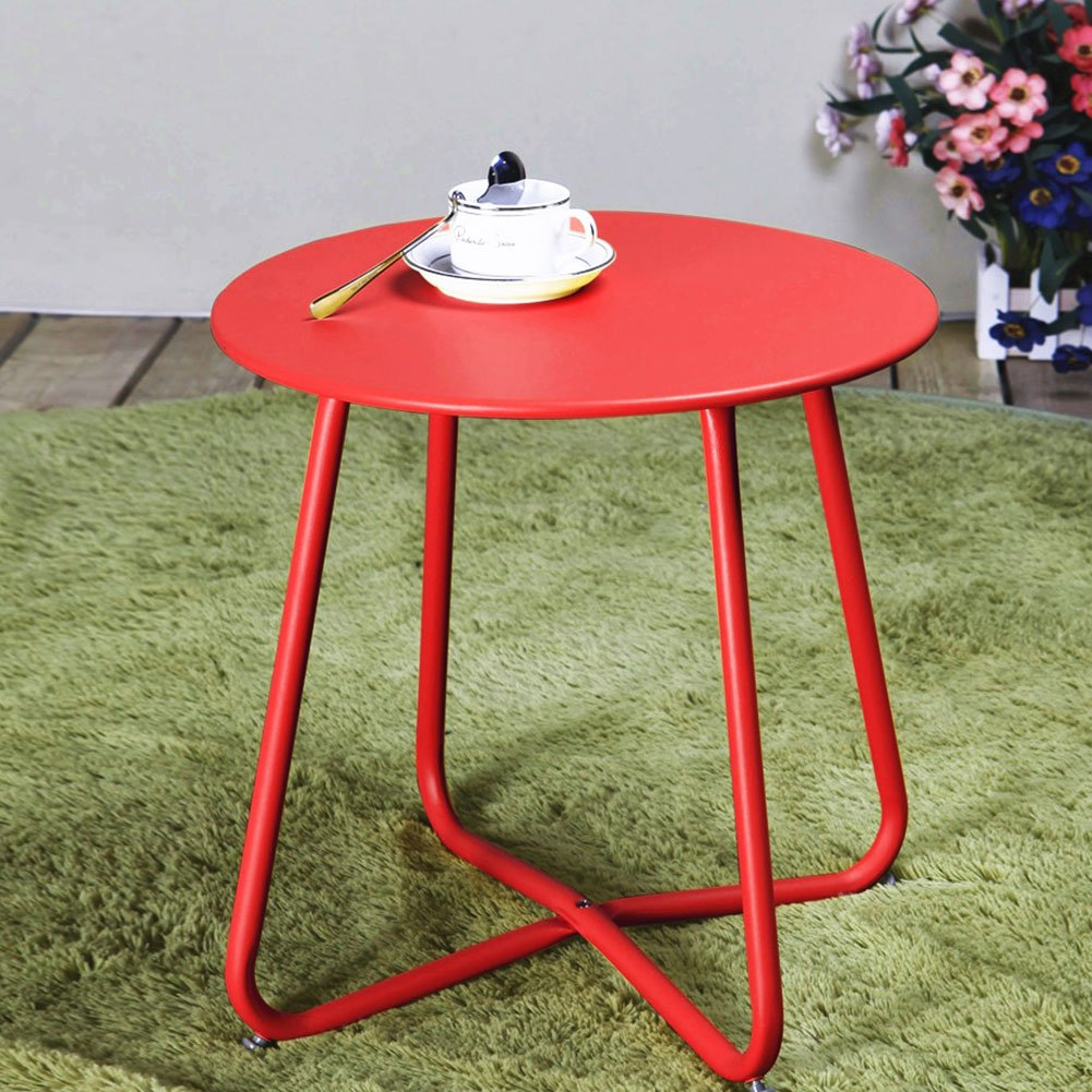 Grand patio Steel Coffee Bistro Table All Weather Outdoor Garden Backyard Ottoman Table, Red by Grand patio (Image #2)