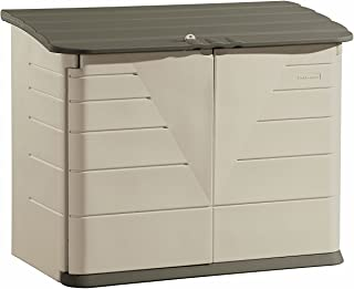 product image for Rubbermaid Large Horizontal Resin Weather Resistant Outdoor Garden Storage Shed, Olive and Sandstone