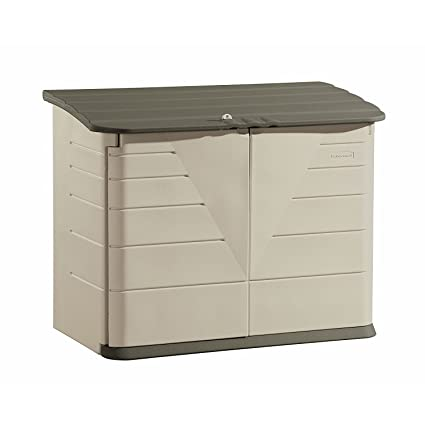 Beau Rubbermaid Outdoor Horizontal Storage Shed, Large, 32 Cu. Ft., Olive/