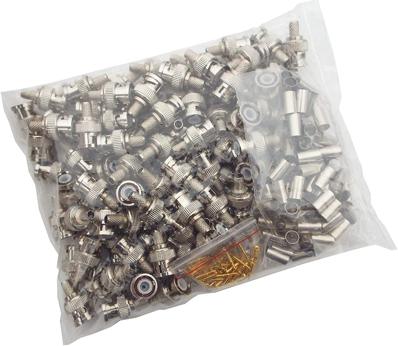 100-Pack CNAweb BNC Male Hex Crimp-On Connector 3 Piece RG59//62
