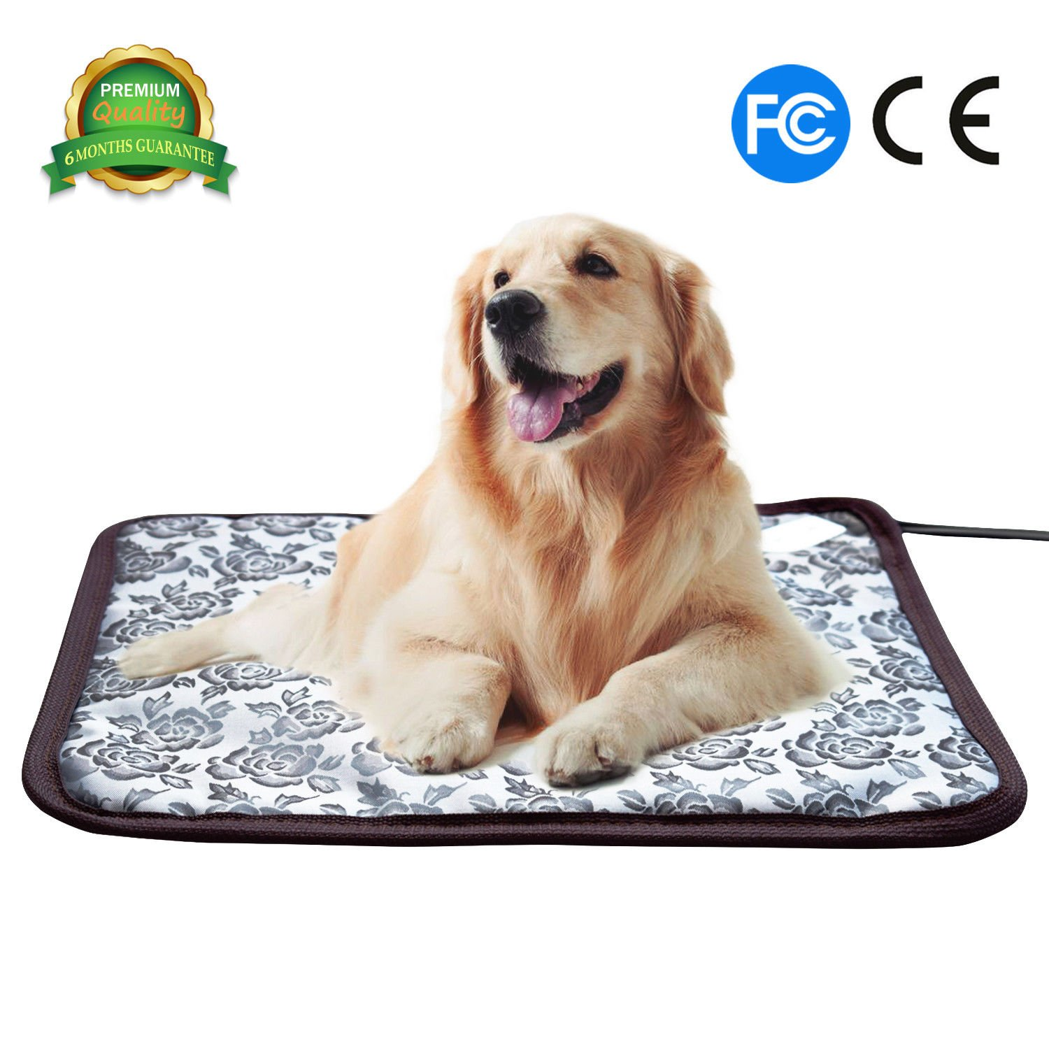 Pet Heating Pad Cat Heating Mat Waterproof Pets Heated Bed Adjustable Dog Bed Warmer Electric Heating Mat with Chew Resistant Steel Cord (17.7x17.7 Flower)