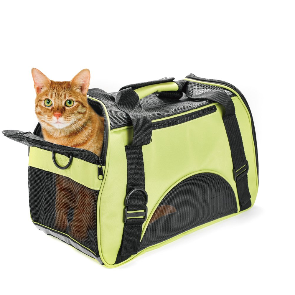 Huanxu Pet Carrier for Small Dogs, Cats, Puppies, Kittens Airline Approved Under SeatSoft Sided Travel Bags Under Size 17.3'' X 7.9'' X 9.8''(Green)