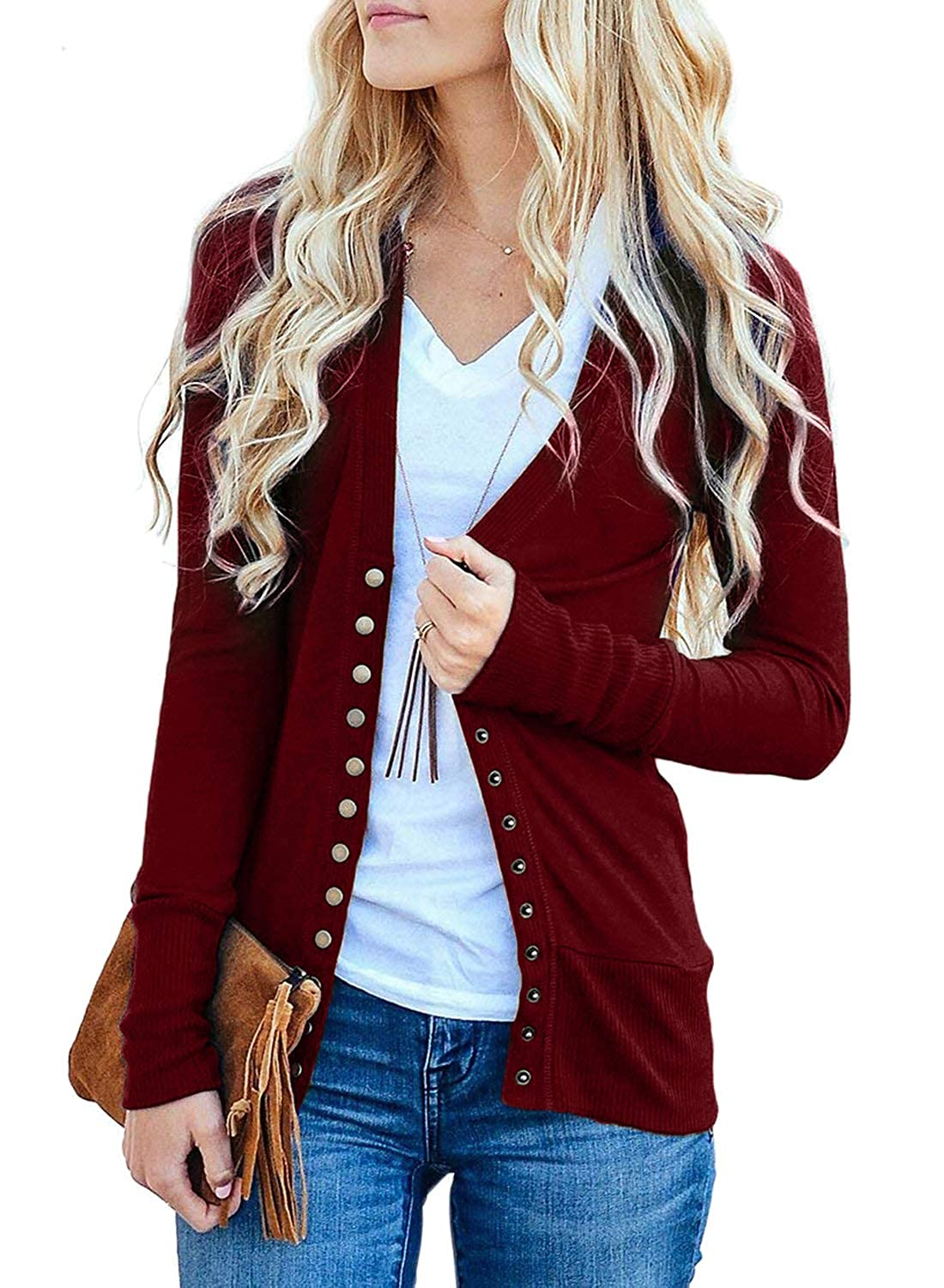 Asvivid Women Long Sleeve Knit Cardigan Solid Color Snap Button Down Ribbed Front Open Top Size UK6-22 WHH85243-UK