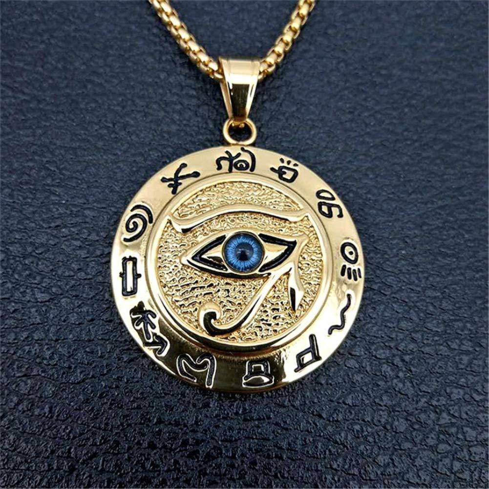 Blowin Collar de Acero Inoxidable con Colgante de Ojo de Horus de Horus para el d/ía del Padre joyer/ía para Todo Tipo de Ojos Collar de Ojo de la Providencia Cadena de Caja de 24 Pulgadas
