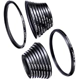 Filter Ring Adapter, K&F Concept 18pcs Camera Lens Filter Metal Stepping Rings kit (Includes 9pcs Step Up Ring Set + 9pcs Step Down Ring Set) Black