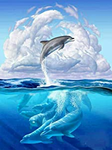 Rovepic 5D Diamond Painting Kits Dolphin Animal Round Full Drill, DIY Paint with Diamonds Art Marine Life Cloud Crystal Rhinestone Cross Stitch for Home Office Wall Crafts Decorations 12×16 Inch