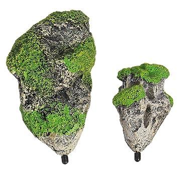 NACOLA Piedra flotante para acuario, resina, musgo artificial, decoración para pecera, paisaje con líneas de pesca, ventosas, S, M: Amazon.es: Hogar