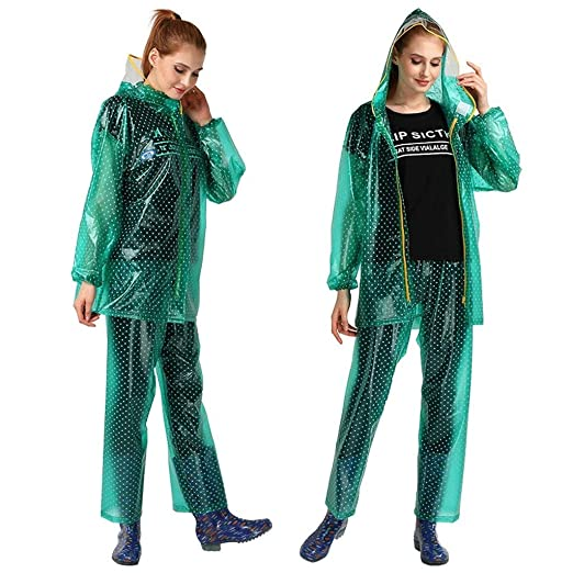 LULUDP Chubasqueros Ropa Impermeable Transparente PVC Mujer Split ...