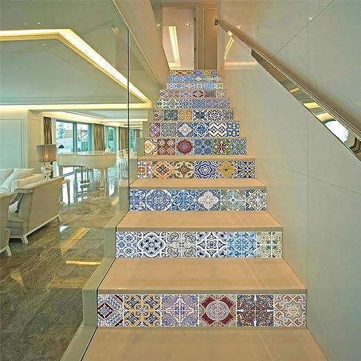DESHOME 13 Piezas de Escalera Vertical, Etiqueta de Pared 3D PVC Impermeable Autoadhesivo extraíble Escalera Ascendente calcomanías para escaleras o decoración para el hogar - 100 * 18 cm,A: Amazon.es: Hogar