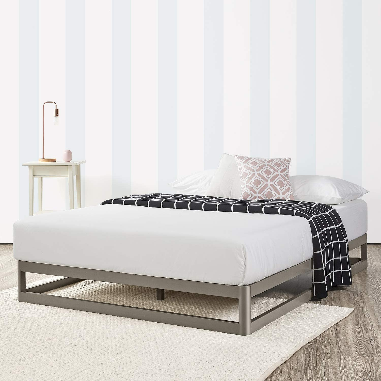 Mellow 9 Inch Metal Platform Bed Frame W Heavy Duty Steel Slat Mattress Foundation No Box Spring needed Grey