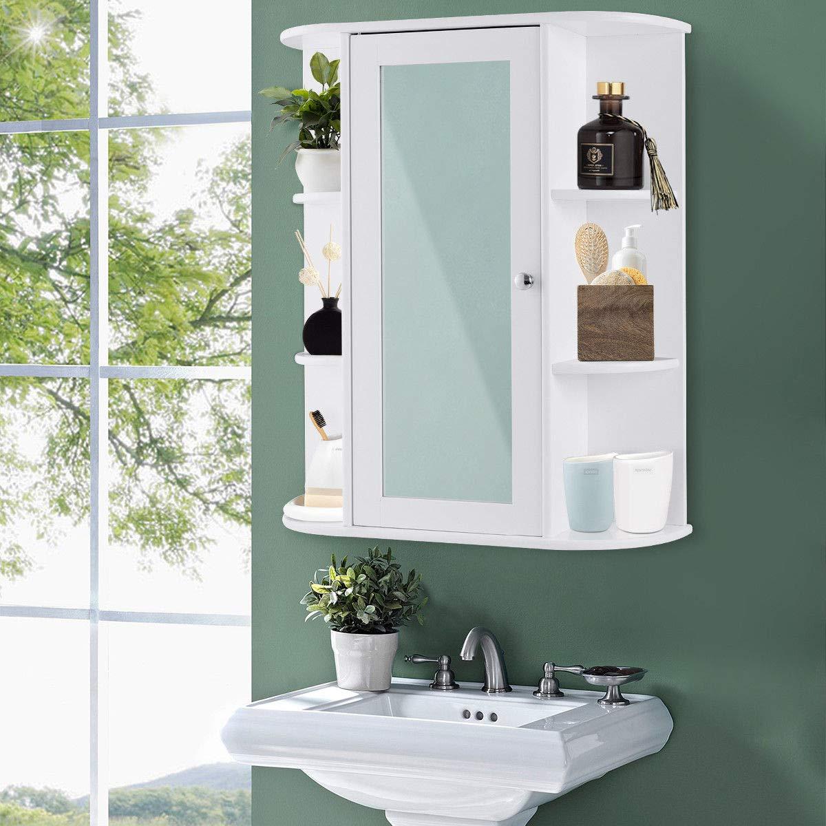 TANGKULA Bathroom Cabinet Single Door Wall Mount Mirror Organizer Storage Cabinet(2 Tier Inner Shelves) by TANGKULA