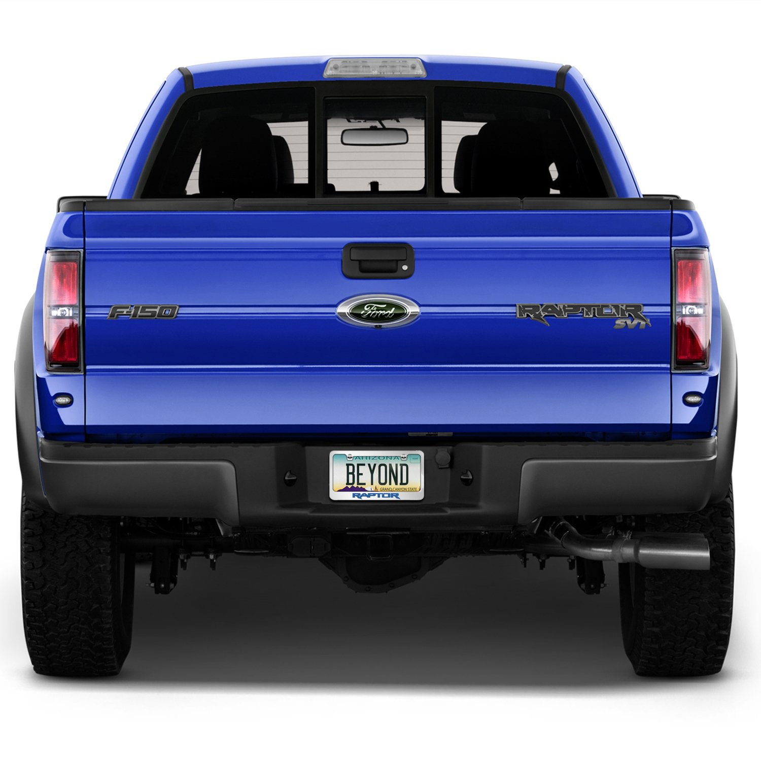 Official Licensed Product Made in the USA Ford F-150 Raptor in Blue Mirror Chrome Metal License Plate Frame by iPick Image