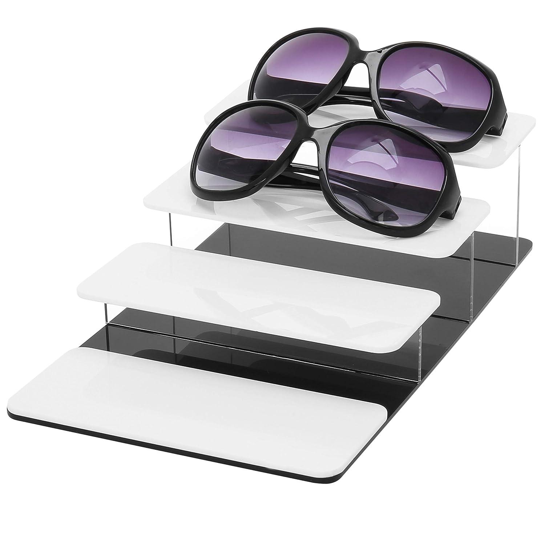 MyGift 4-Tier White /& Black Acrylic Sunglasses Display Riser