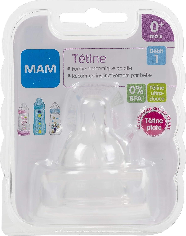 Mam - Conjunto de tetinas anatómicas, para el flujo lento, silicona, 2 piezas, Color: transparente.