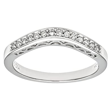 Naava Women's 9 ct White Gold Round Brilliant Cut Diamond Wishbone Eternity Ring ztniaCRa
