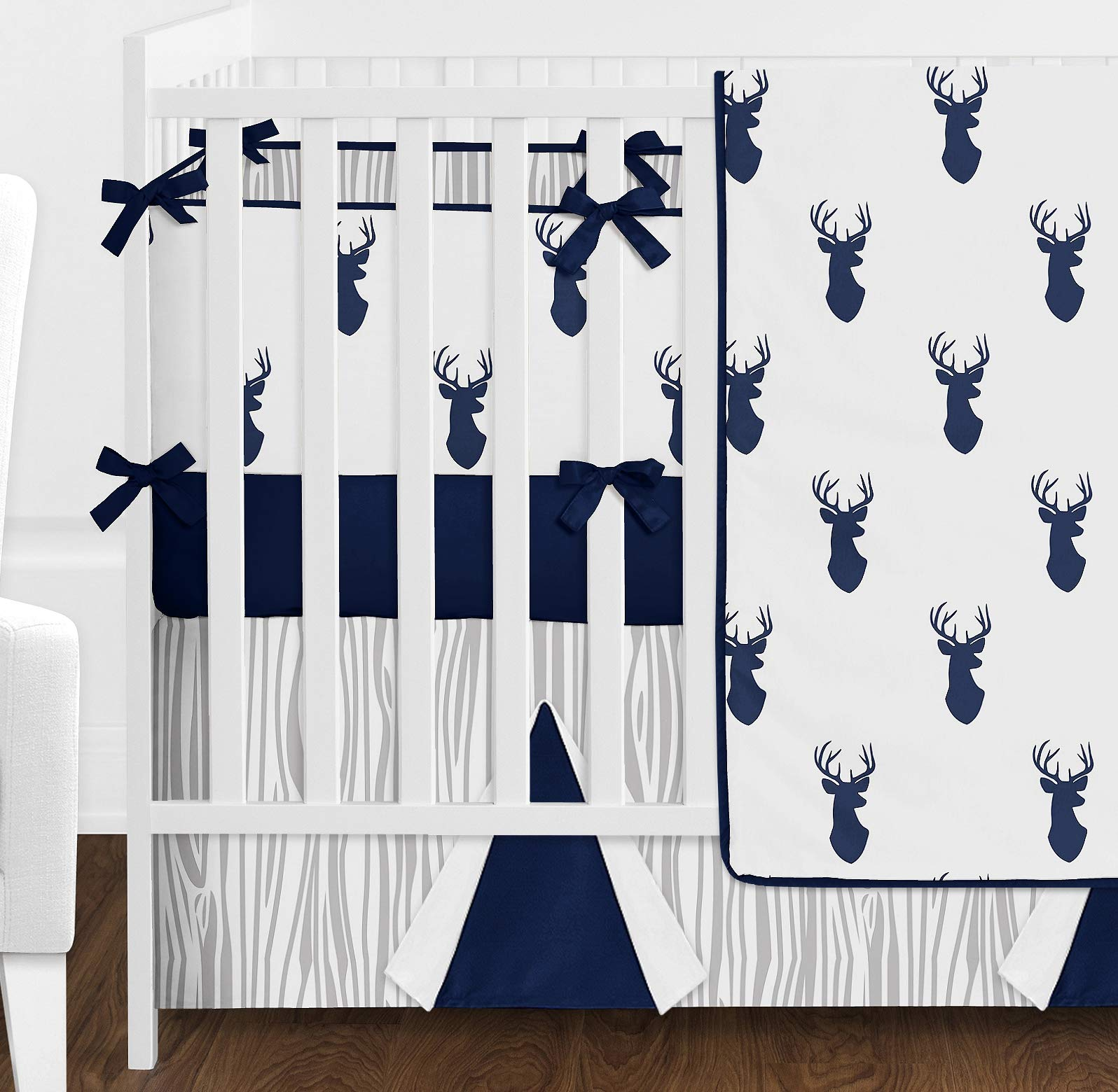 Sweet Jojo Designs 9-Piece Navy Blue White and Gray Woodland Deer Print Crib Baby Bedding Set with Bumper for a Newborn Boy