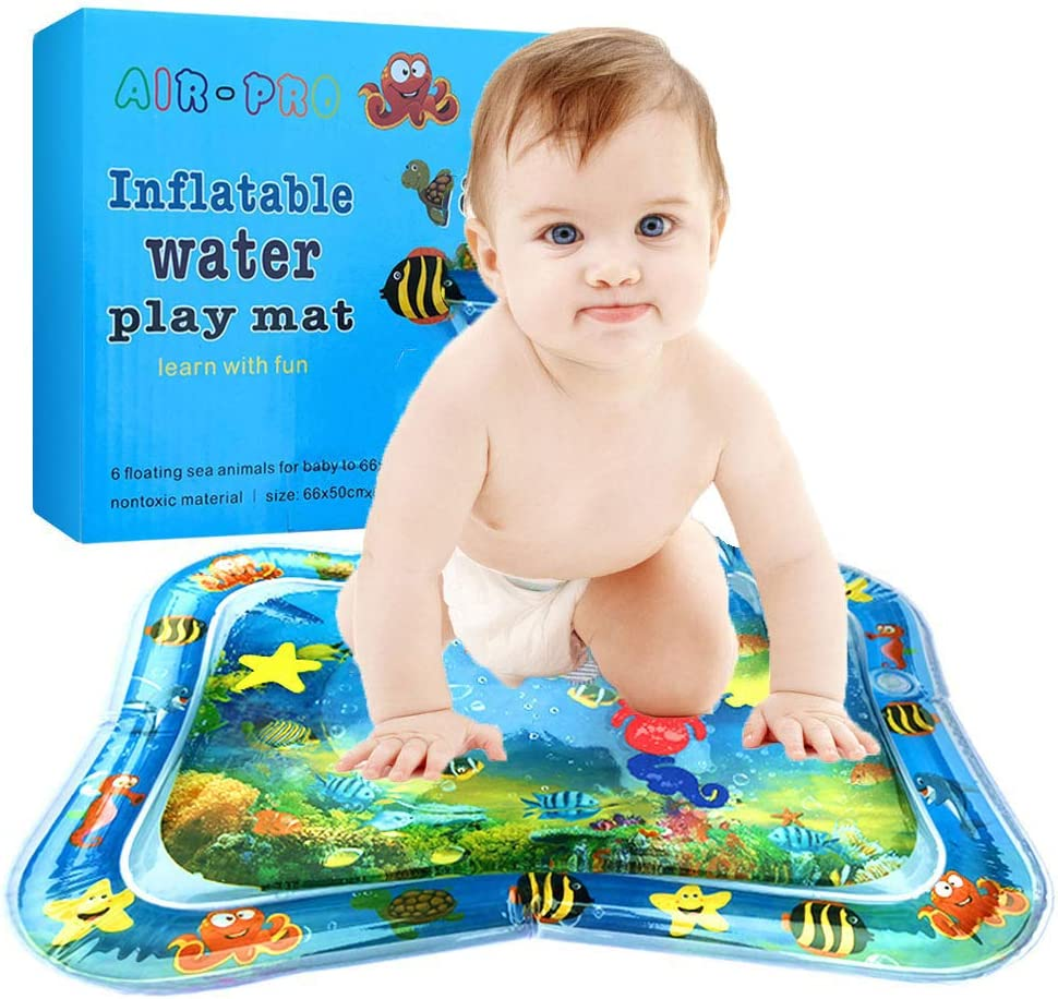 XUNKE Estera inflable de juegos acu/áticos para beb/és y ni/ños peque/ños Diversi/ón Centro de Actividades Beb/é playmats Alfombra de agua libre de BPA a prueba de fugas Juguete para Beb/és 66x50cm