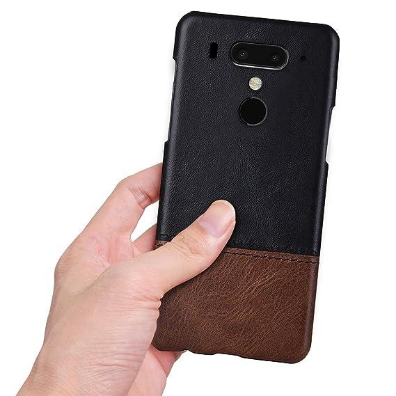 best quality 27855 5b194 Moonmini HTC U12 Plus Case, PU Leather Back Cover Ultra Slim Hard PC  Anti-Scratch Dropproof Phone Protective Case for HTC U12 Plus(Black + Brown)