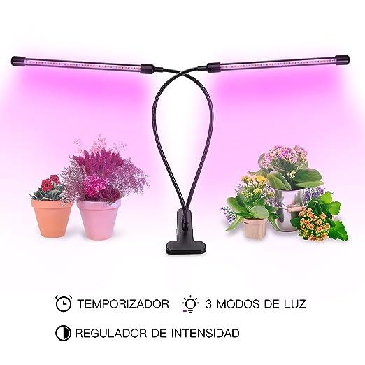 LOPOO USB Lamparas para Plantas 360° Giratorio 9 Brillo Adjustable Lampara LED 3 Modos de Luz Planta Lampara LED 15W con Double Hortícola Lampara de ...