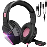 Mpow EG10 Gaming Headset for PS4, PC, Xbox One,Switch -7.1 Surround Sound Headset with Microphone,Noise Cancelling,LED Light,