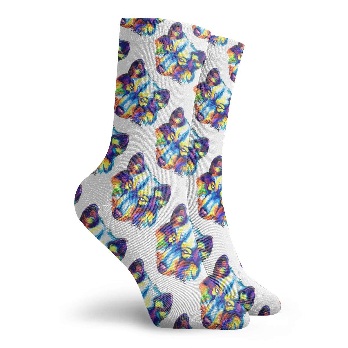 YIEOFH Rainbow Wolves Cool Novelty Boys Girls Fashion Cute Funny Casual Art Crew Socks