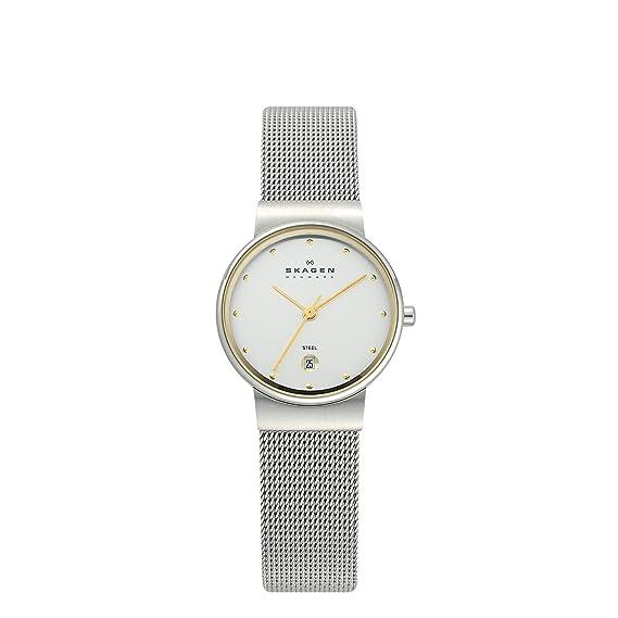 Skagen 355SGSC - Reloj analógico de mujer de cuarzo con correa de acero plateada - sumergible a 30 metros: Skagen: Amazon.es: Relojes