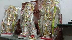 RM43 RM Handmade Marble 15inch Chalit Ram Darbar Spiritual Idols Decorative Puja/Vastu Showpiece Religious Pooja Gift Item & Murti for Mandir,Temple,Home Decor & Office