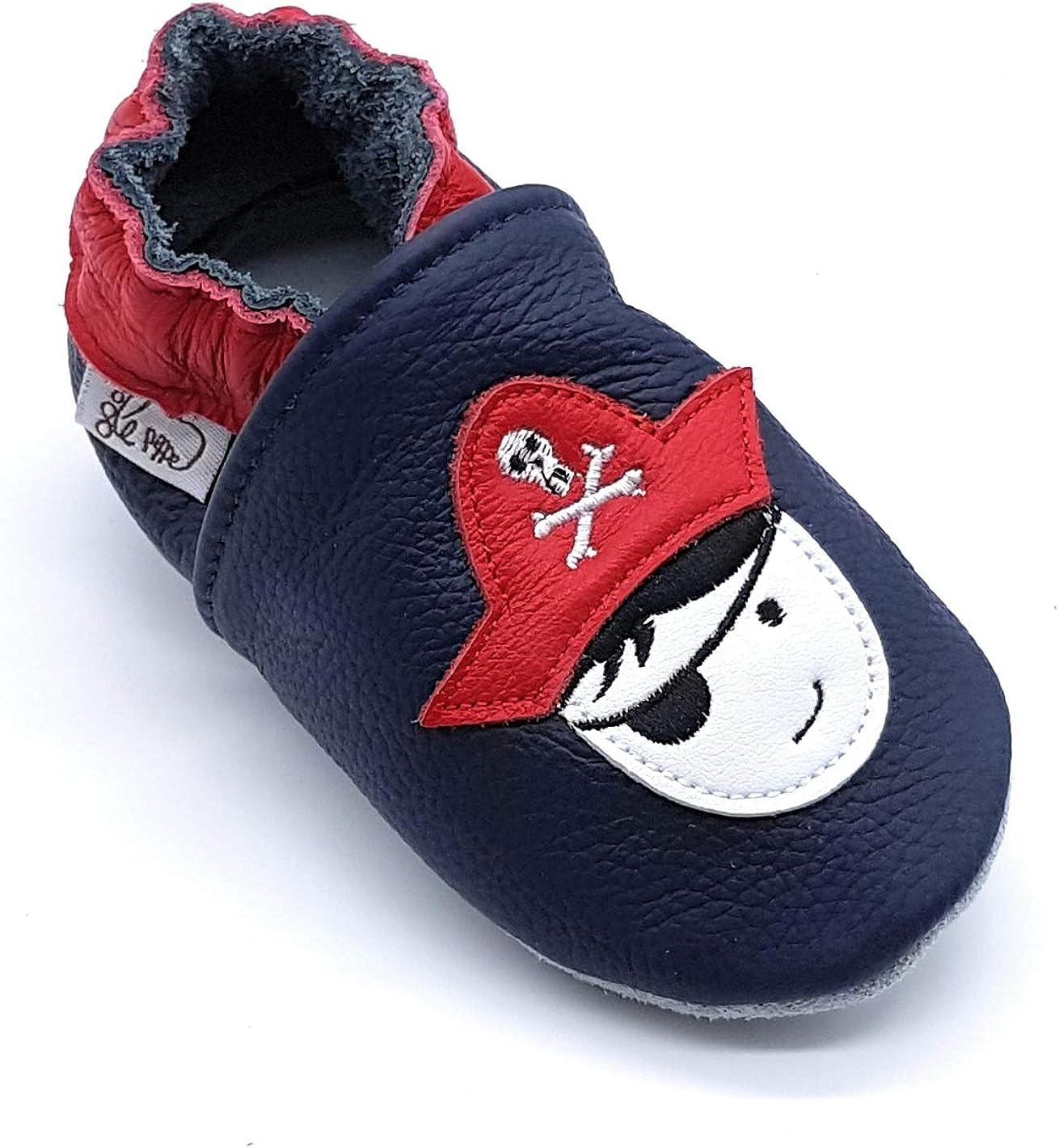 Scarpine in Pelle Prima Infanzia LEPEPPE Neonato Pantofole Babucce Materne Danza Nido Primi Passi Fino al 32//33!! Pirata