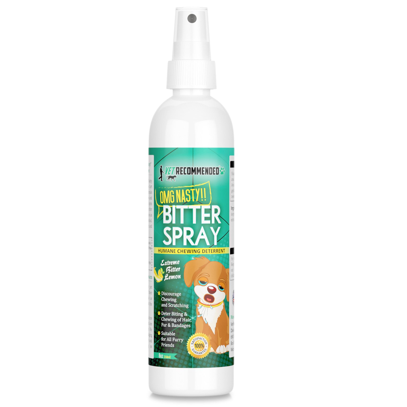 Vet Recommended - Bitter Lemon Spray for Dogs - OMG Nasty - Anti Chew Dog Repellent Spray & Dog Training Tool to Stop Biting - Alcohol Free, Non-Toxic and Safe Chewing Deterrent. (8oz/240ml) by Vet Recommended