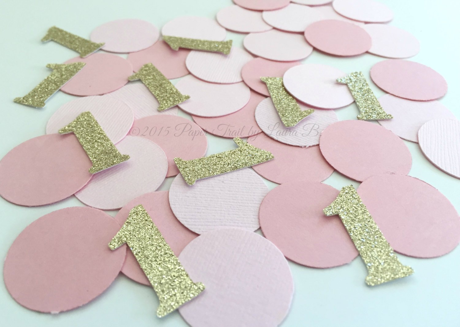 Birthday Parties Bridal Showers Circle Table Confetti Pink and Gold Glitter Number Confetti 80 Piece Confetti First Birthday Decor
