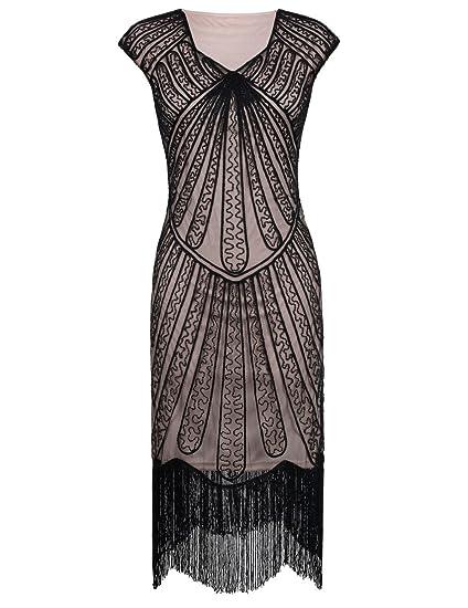 76b67565d77b88 PrettyGuide Damen 1920er CocktailKleid Perlen Art Deco Flapper Charleston  Kleid M Schwarz Beige