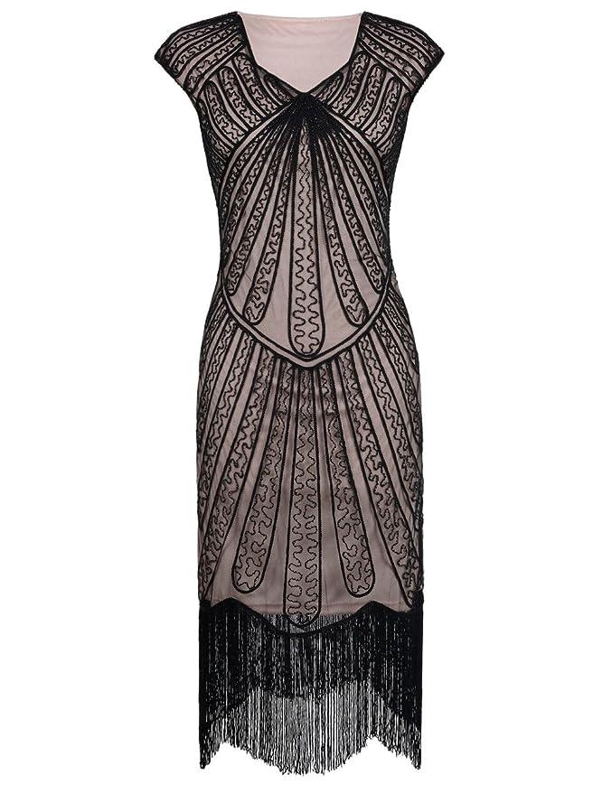 6fa9a6b1825882 PrettyGuide Damen 1920er CocktailKleid Perlen Art Deco Flapper Charleston  Kleid: Amazon.de: Bekleidung