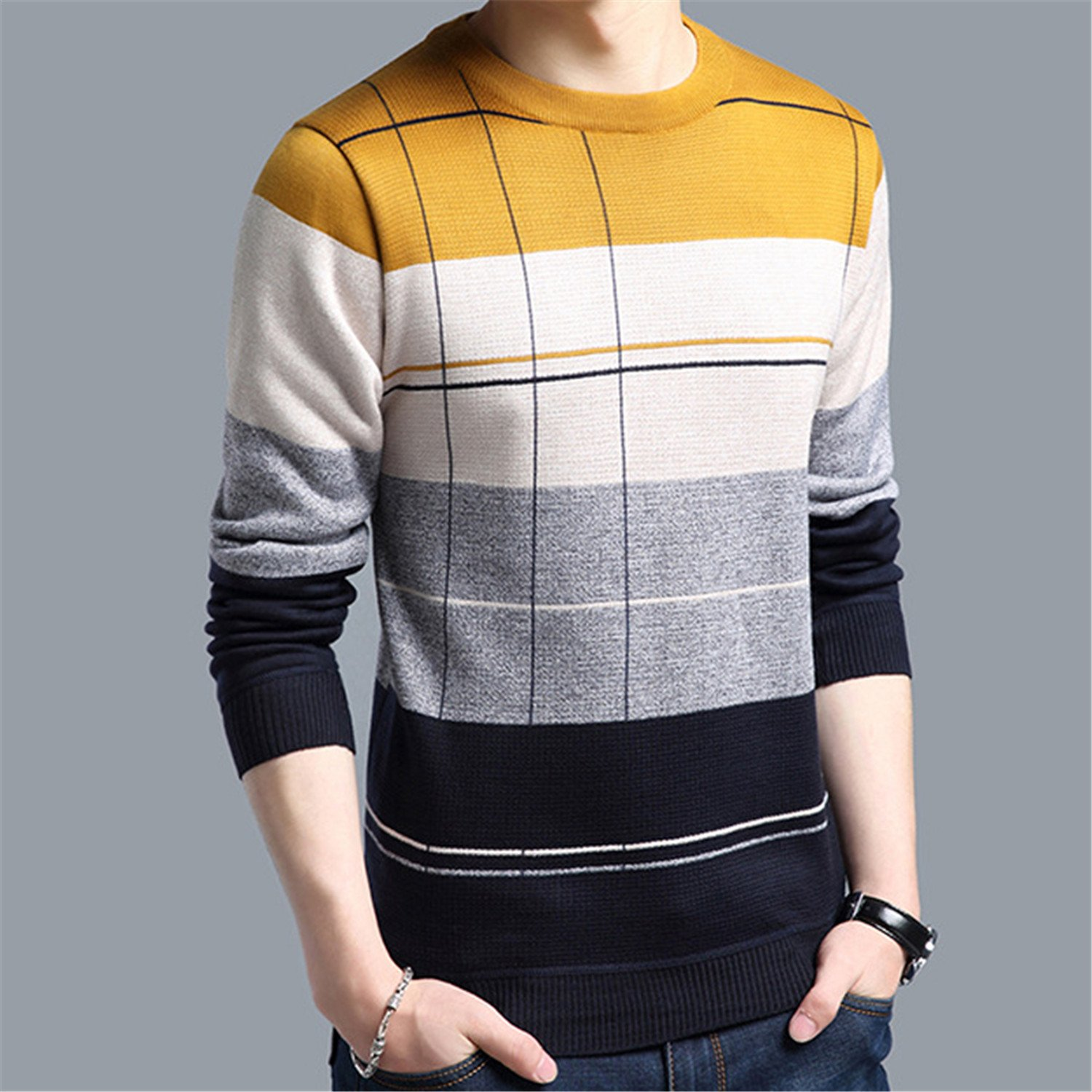 Cyose Fashion Mens Pullover Sweaters Casual Crocheted Striped Knitted Sweater Men