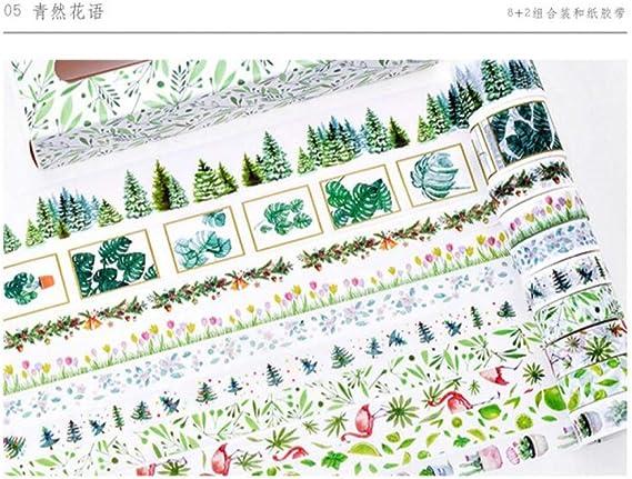 WGCJD Cinta De Color Washi Tapes 10 Unids/Pack Linda Chica Encantadora Cinta Adhesiva Decorativa Diy Scrapbooking Cinta De Enmascarar Artesanía Material De Oficina Escolar: Amazon.es: Hogar