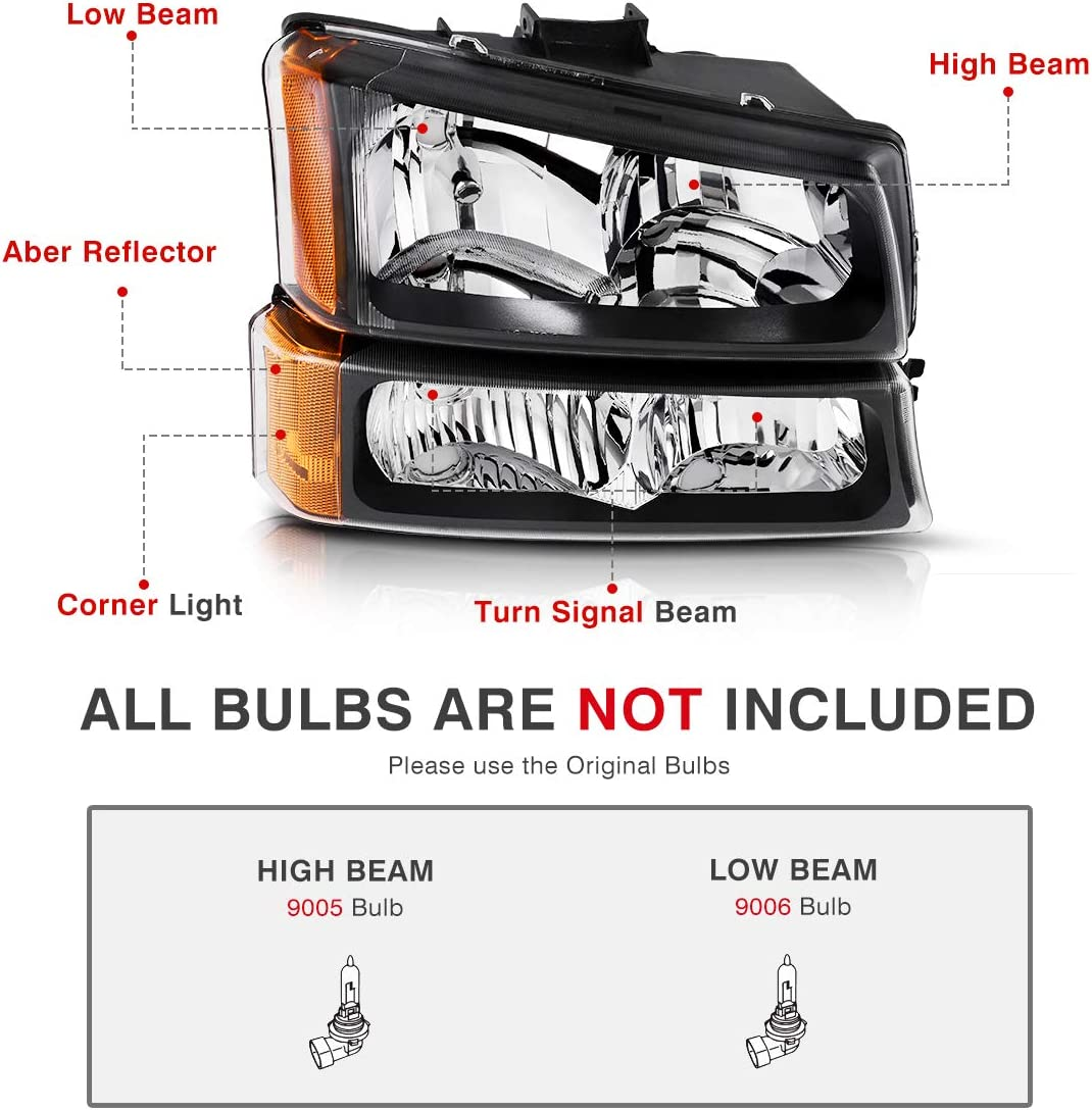 4 PCS, Not for Body Cladding Models AUTOSAVER88 Headlight Assembly For 2003-2006 Chevy Silverado Avalanche 1500//2500//3500 Headlights Replacement Black Housing Clear Lens /& Bumper Parking lights