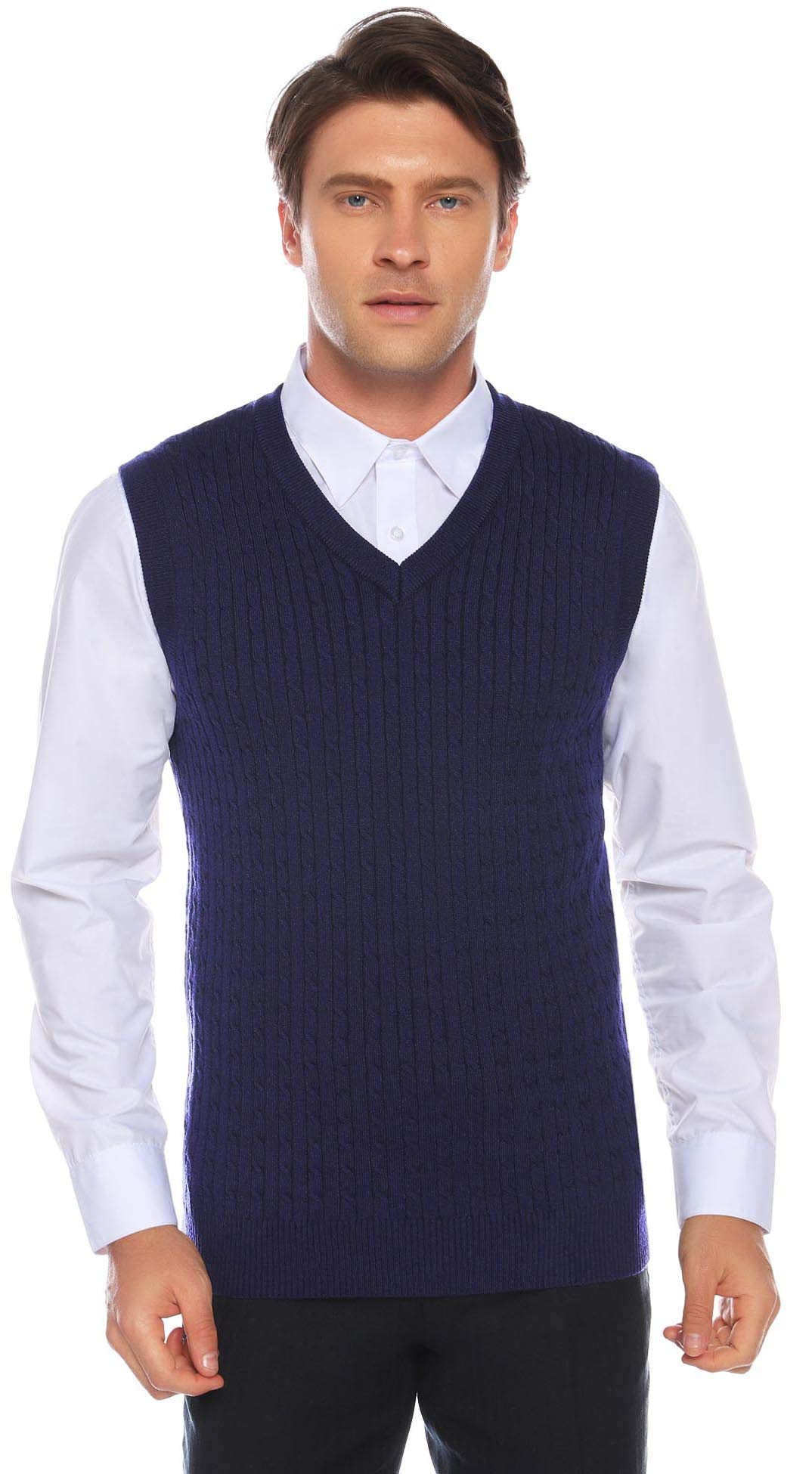 Aibrou Men's V Neck Sweater Vest Twist Cable Sleeveless Knitted Pullover (XL,Dark Blue) by Aibrou