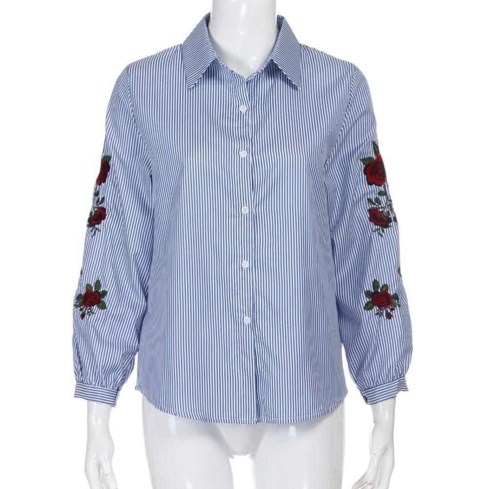 Winwintom Mujeres Chicas Camiseta De OtoñO Tops Casual Bordados Florales Blusa Suelta De Manga Larga: Amazon.es: Ropa y accesorios