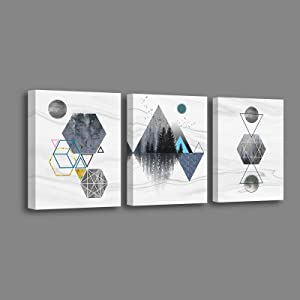 Nordic Style Room Geometric Decor Modern Abstract Canvas Wall Art for Living Room Bedroom Bathrooms Office set of 3 Size 12x16 inches Each Panel