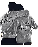 Minetom Couple Sweatshirt Femmes Hommes Casual Col Rond Manches Longues Imprimer Lettre De King Queen Tops Pull Amants Blouse Cadeaux