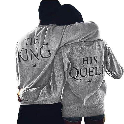 Minetom King Queen Impresión Hombres Mujer Moda T-Shirt Verano Manga Larga Impreso Parejas Tops