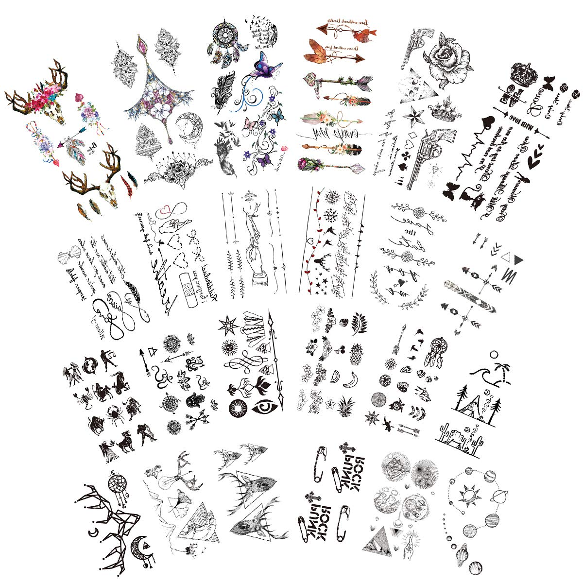 Temporary Tattoos Stickers, Small Temporary Tattoo 24 sheets Fake Tattoos Waterproof Body Sticker Mixed Style
