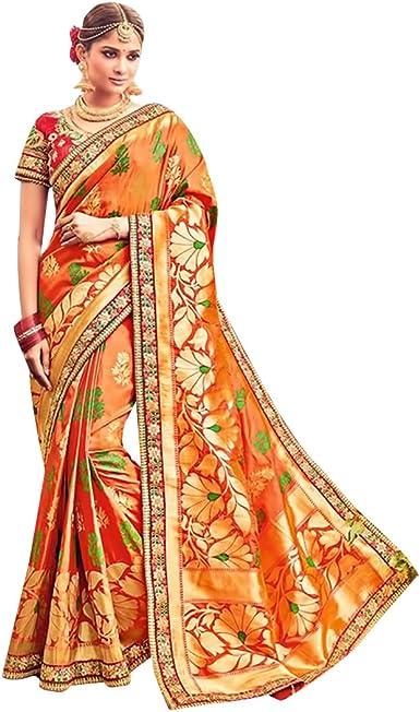 ETHNIC EMPORIUM Diseñador de Vestimenta Tradicional India Sari de Seda con Blusa sin Costuras 558: Amazon.es: Ropa y accesorios