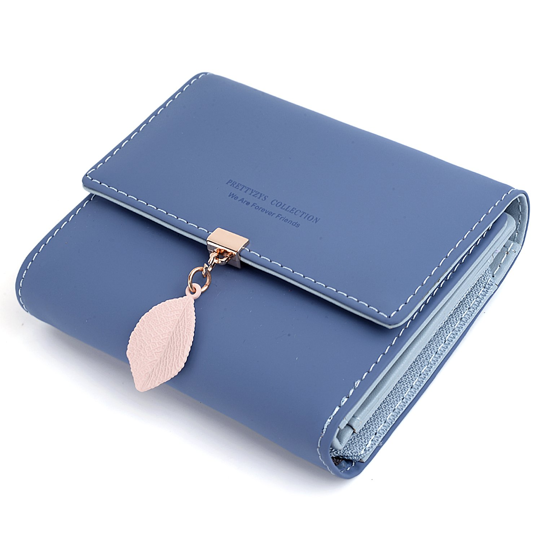 Cartera de Mujer - UTO Monedero Corto Adorno Hoja Colgante Cartera Minimalista con Bolsillo de Cremallera para Monedas Azul